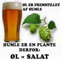 Øl er fremstillet af humle